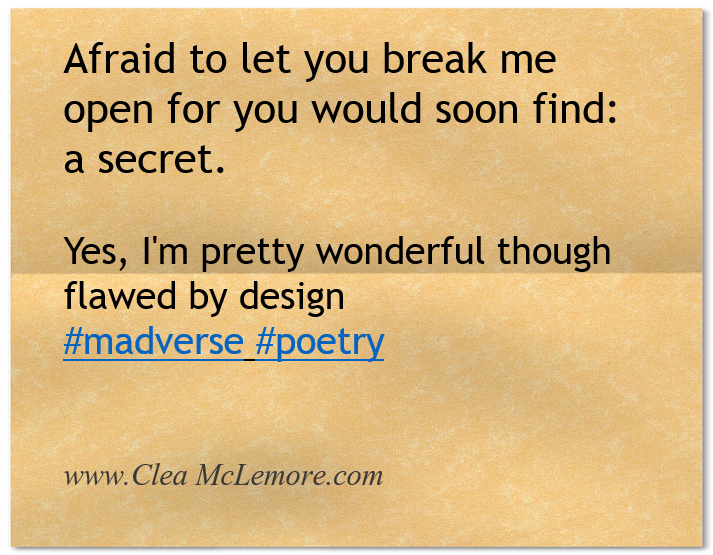 Micropoetry by Clea McLemore, Afraid